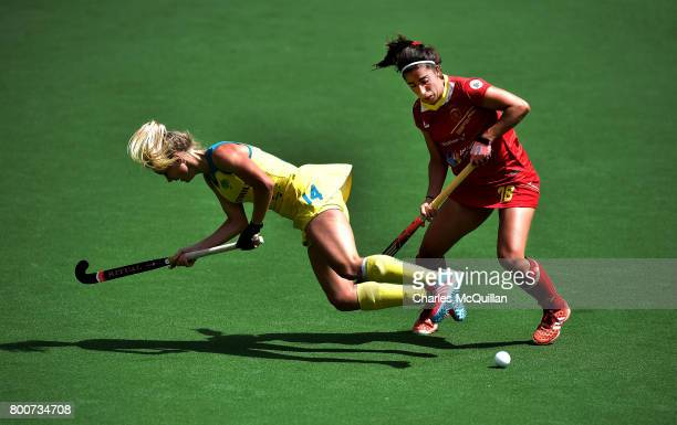 Stephanie Kershaw of Australia and Julia Pons of Spain during the FINTRO Women's Hockey World League SemiFinal Pool B game between Australia and...
