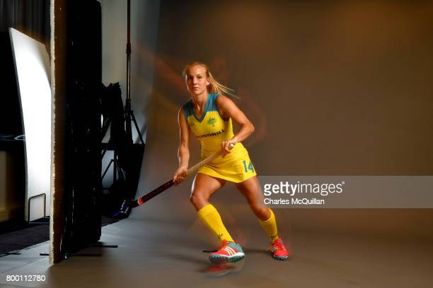 Stephanie Kershaw of Australia runs across a studio floor during a player portrait photo session for FINTRO Hockey World League on June 23 2017 in...