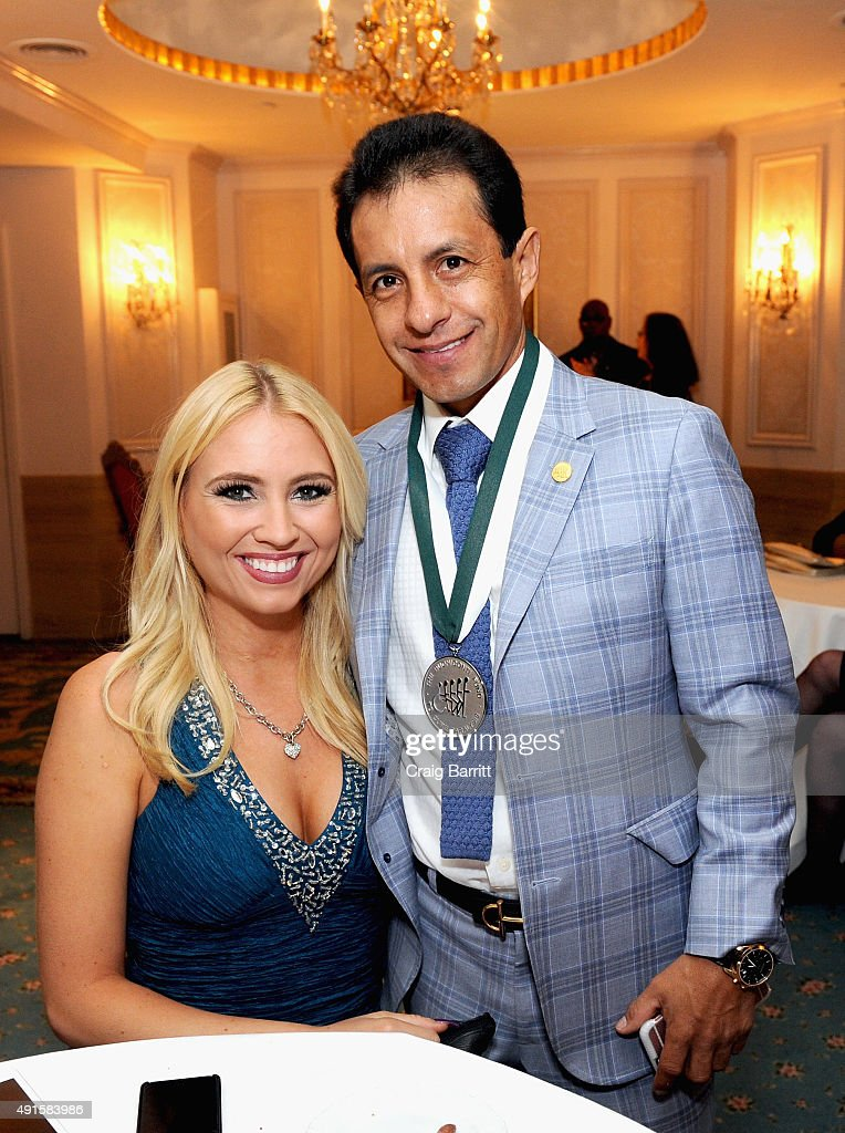 Stephanie Kunkel and jockey Victor Espinoza attend the 30th Annual Great Sports Legends Dinner to benefit The Buoniconti Fund to Cure Paralysis at The Waldorf Astoria on October 6, 2015 in New York City.
