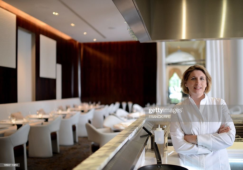 Stephanie Le Quellec, newly appointed Executive Chef of the luxury hotel 'Prince de Galles' (Prince of Wales), poses for a photograph on May 22, 2013, at the hotel in Paris. The Prince de Galles, on the Avenue George V in Paris reopened on May 16, 2013 under the 'Luxury Collection' brand after two years of renovation. The luxury hotel, with 159 rooms, a restaurant and bar, was built in 1928 and was closed since February 2011. The hotel received a fifth star on its reopening.
