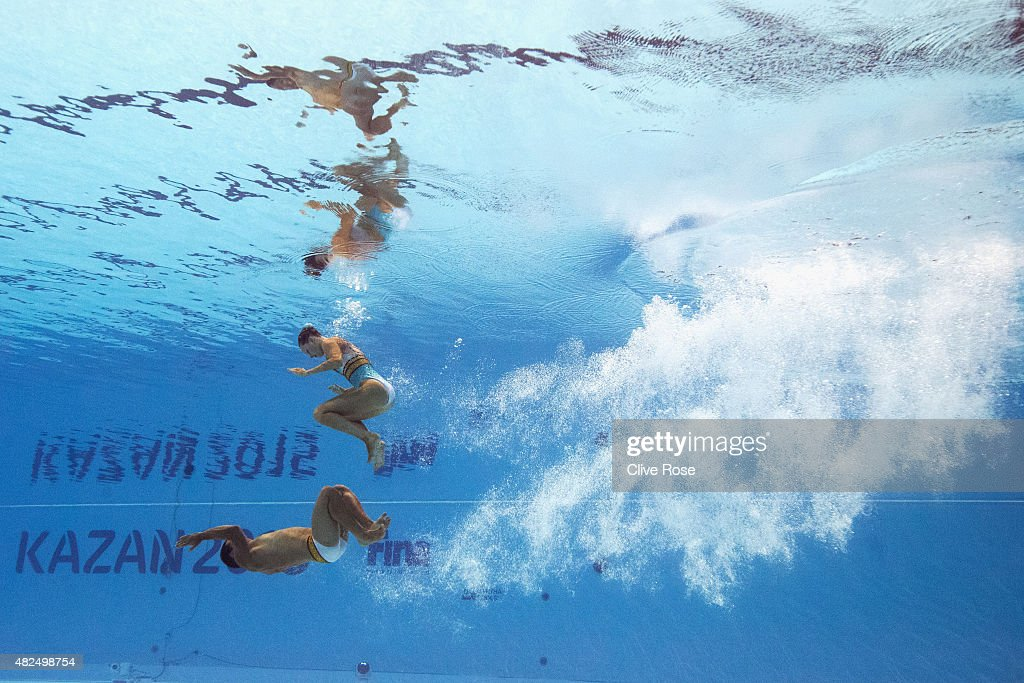 Stephanie Leclair and Rene Robert Prevost of Canada compete in the Mixed Duet Free Synchronised Swimming Final on day six of the 16th FINA World Championships at the Kazan Arena on July 30, 2015 in Kazan, Russia.