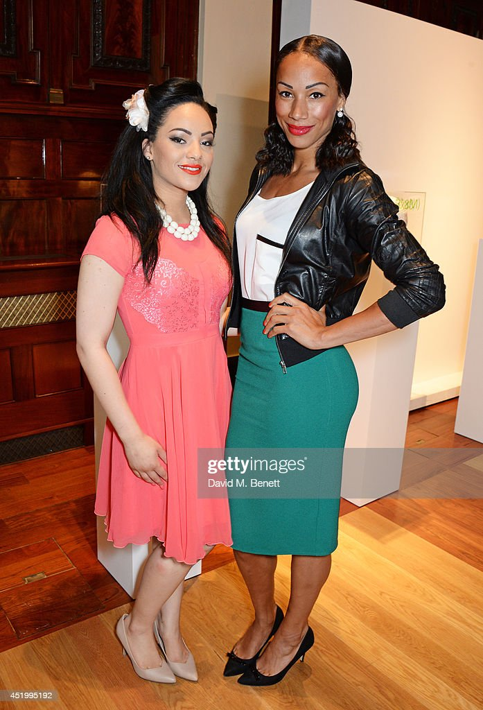 Stephanie McCourt (L) and <a gi-track='captionPersonalityLinkClicked' href=/galleries/search?phrase=Jade+Johnson&family=editorial&specificpeople=211321 ng-click='$event.stopPropagation()'>Jade Johnson</a> attend 'The Art Of Futebol' charity auction in support of Action for Brazil's Children Trust at the Embassy of Brazil on July 10, 2014 in London, England.