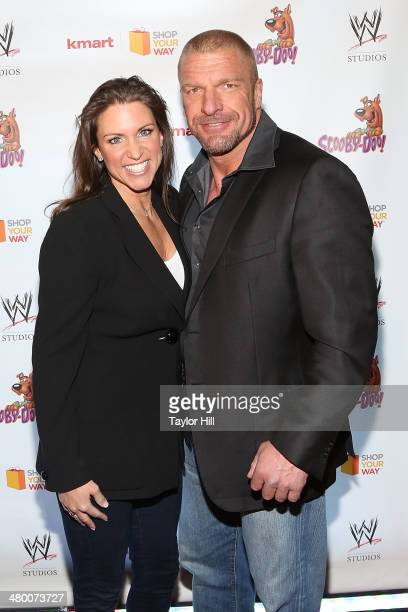 Stephanie McMahon and Triple H attend Scooby Doo WrestleMania Mystery at Tribeca Cinemas on March 22 2014 in New York City