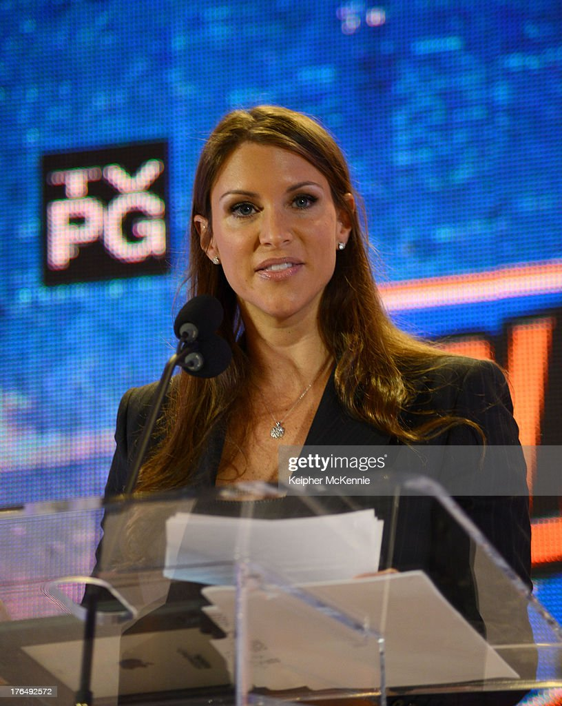 Stephanie Mcmahon arrives to the WWE SummerSlam Press Conference at Beverly Hills Hotel on August 13, 2013 in Beverly Hills, California.