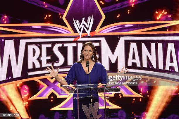 Stephanie McMahon attends the WrestleMania 30 press conference at the Hard Rock Cafe New York on April 1 2014 in New York City