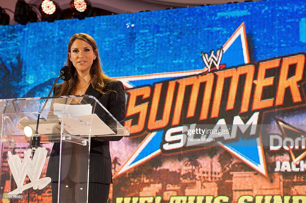 <a gi-track='captionPersonalityLinkClicked' href=/galleries/search?phrase=Stephanie+McMahon&family=editorial&specificpeople=2647436 ng-click='$event.stopPropagation()'>Stephanie McMahon</a> attends WWE SummerSlam Press Conference at Beverly Hills Hotel on August 13, 2013 in Beverly Hills, California.