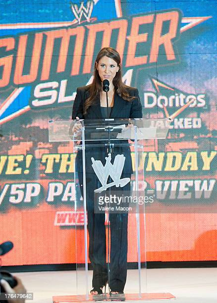 Stephanie McMahon attends WWE SummerSlam Press Conference at Beverly Hills Hotel on August 13 2013 in Beverly Hills California