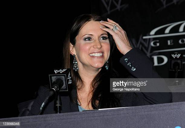 Stephanie McMahon Executive Vice President of WWE attends the WrestleMania XXVII press conference at the Hard Rock Cafe Times Square on March 30 2011...