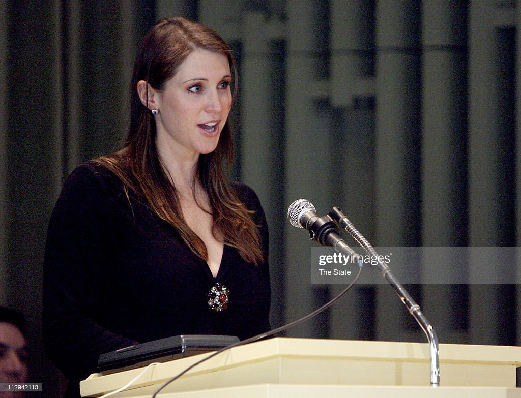 Stephanie McMahon-Levesque, daughter of WWE Chairman Vince McMahon, gives the eulogy during the funeral of former wrestler Mary Lillian Ellison, aka 'The Fabulous Moolah' in Columbia, South Carolina, Wednesday, November 7, 2007.