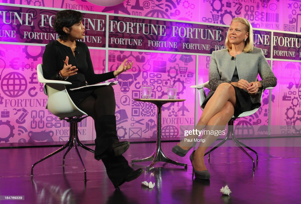 Stephanie Mehta and Chairwoman and CEO of IBM Ginni Rometty speak onstage at the FORTUNE Most Powerful Women Summit on October 16, 2013 in Washington, DC.