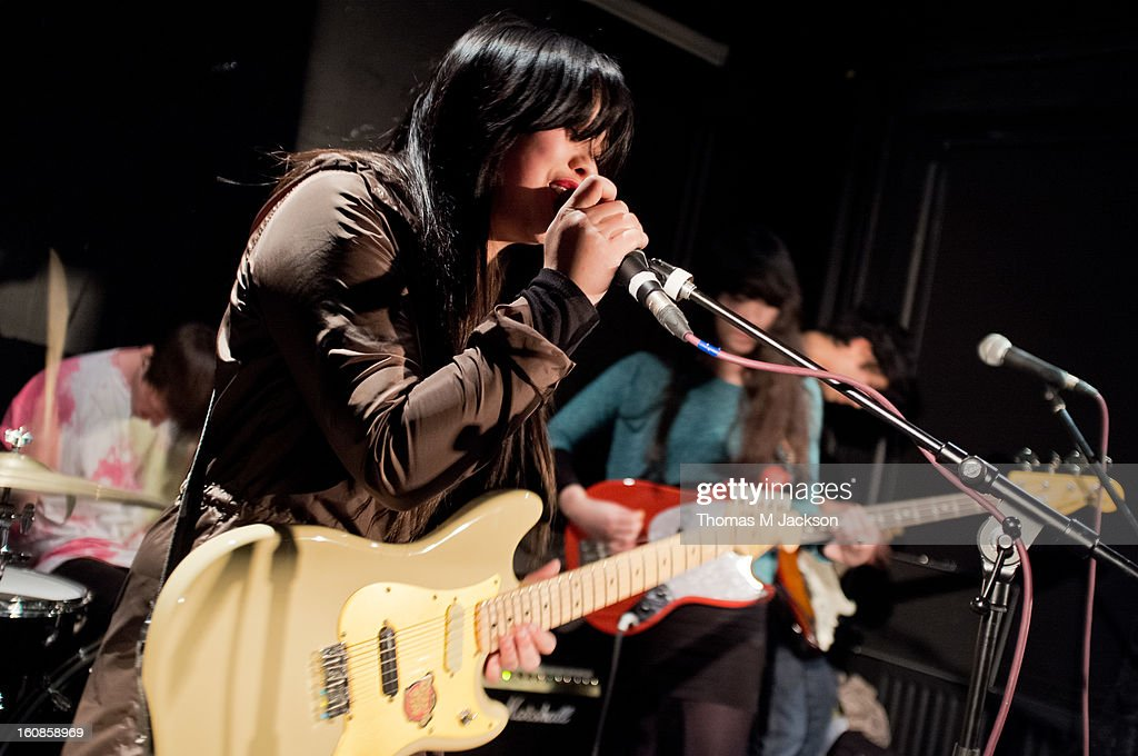Stephanie Min of The History Of Apple Pie performs on stage at The Dog and Parrot on February 6, 2013 in Newcastle upon Tyne, England.