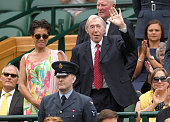 Stephanie Moore and Gordon Banks attend day six of the Wimbledon Tennis Championships at Wimbledon on July 02 2016 in London England