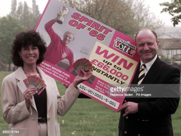 Stephanie Moore widow of 1966 World Cup captain Bobby Moore and George Cohen launch the Littlewoods Lotteries 'Spirit of 66' World Cup scratchcard...