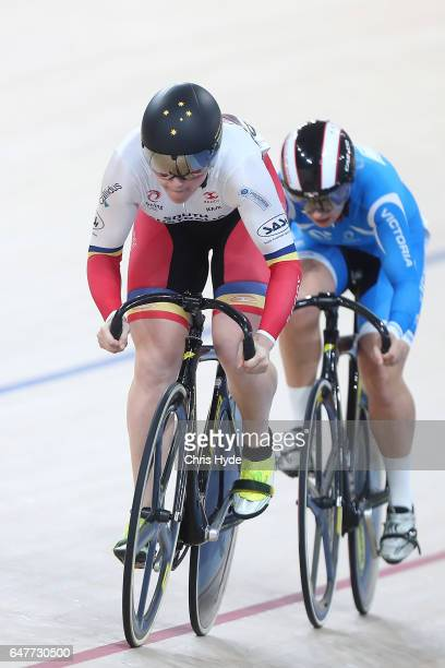 Stephanie Morton and Courtney Field race in the Womens Sprint Final during the Track Cycling National Championships at Anna Meares Velodrome on March...