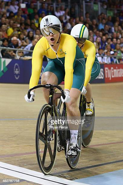 Stephanie Morton of Australia celebrates as she crosses the line to beat Anna Meares of Australia in the Women's Sprint Final at Sir Chris Hoy...