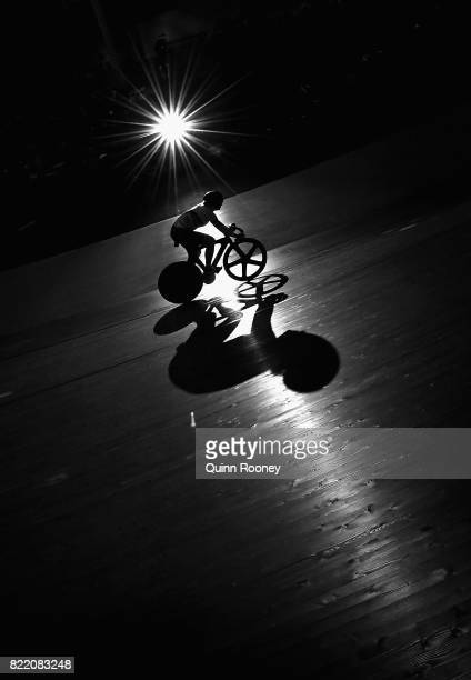 Stephanie Morton of Australia competes in the Elite Women's Sprint during the International Track Cycling Grand Prix Series at Darebin International...
