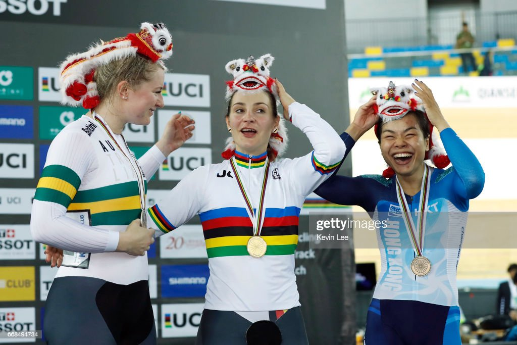 Stephanie Morton of Australia , Kristina Vogel of Germany, Lee Wai Sze of Hong Kong react on the podium after Women's Sprint Finals on Day 3 in 2017 UCI Track Cycling World Championships at Hong Kong Velodrome on April 14, 2017 in Hong Kong, Hong Kong.