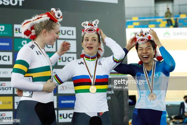 Stephanie Morton of Australia Kristina Vogel of Germany Lee Wai Sze of Hong Kong react on the podium after Women's Sprint Finals on Day 3 in 2017 UCI...