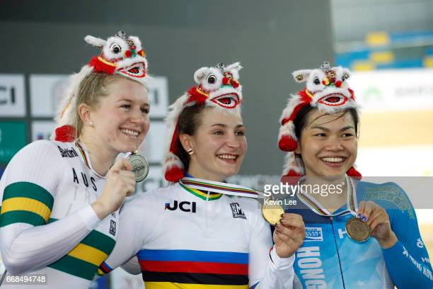 Stephanie Morton of Australia Kristina Vogel of Germany Lee Wai Sze of Hong Kong pose with their medals after Women's Sprint Finals on Day 3 in 2017...