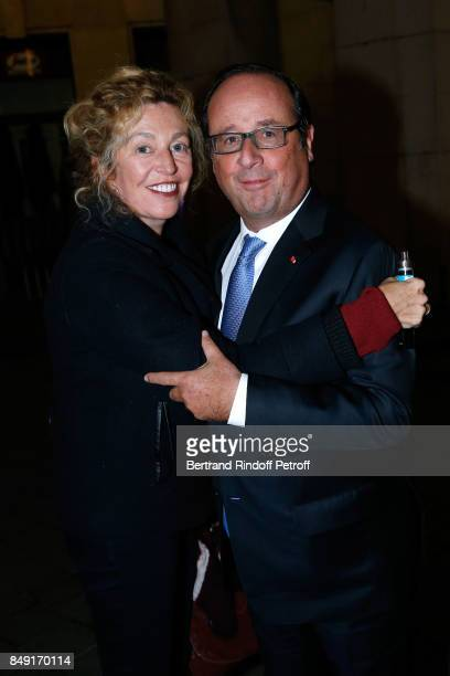 Stephanie Murat and former French President Francois Hollande attend 'La vraie vie' Theater Play at Theatre Edouard VII on September 18 2017 in Paris...