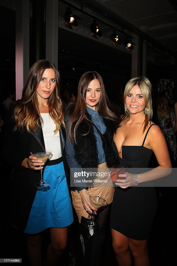 Stephanie Musgrave, Natalia Goudkevitch and Keren Hoppitt at the MBFWA Trends show after party during Mercedes-Benz Fashion Festival Sydney 2013 at Sydney Town Hall on August 21, 2013 in Sydney, Australia.
