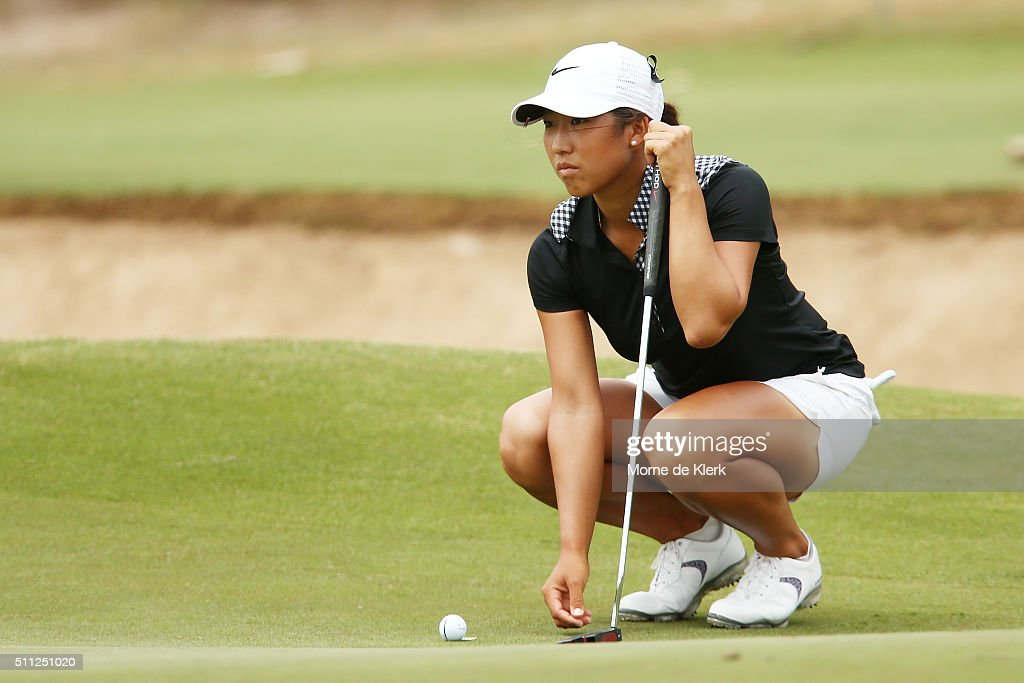 Stephanie Na of Australia prepares to putt during day two of the ISPS Handa Women's Australian Open at The Grange GC on February 19 2016 in Adelaide...