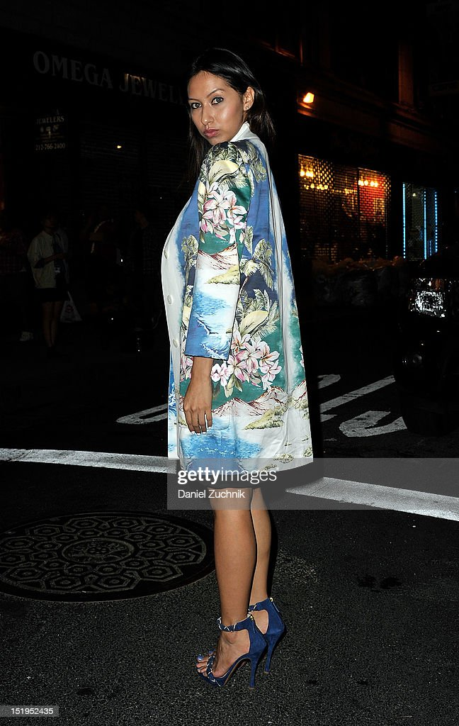 Stephanie Ospina seen outside the Proenza Schouller show wearing a Stella resort dress, Stella jacket, Pollini shoes and an Alexander Wang clutch on September 12, 2012 in New York City.