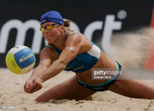 Stephanie Pohl of Germany in action during the second round match between Stephanie Pohl and Okka Rau of Germany and Ryo Tokuno and Teru Saiki of...