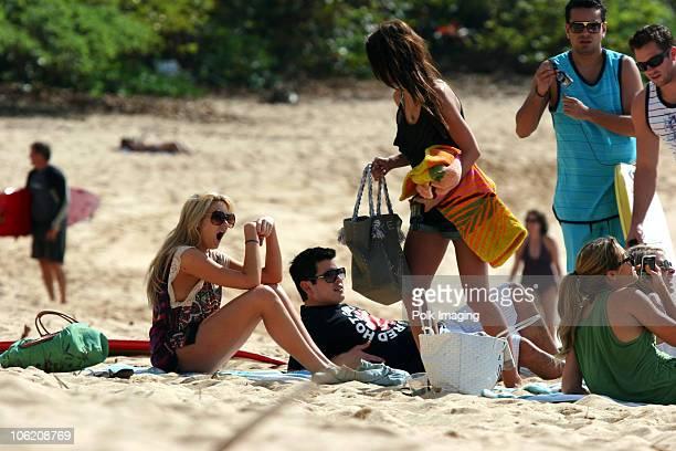 Stephanie Pratt Audrina Patridge Lauren Conrad Frankie Delgado and Doug Reinhardt during taping of MTVs 'The Hills' on the North Shore of Hawaii on...