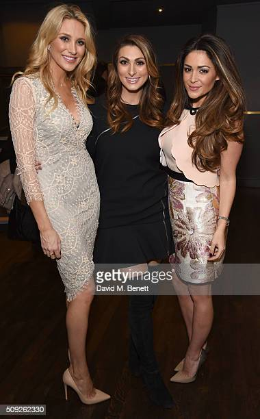 Stephanie Pratt Luisa Zissman and Casey Batchelor attend the Press Night performance of 'Cirque Berserk' at The Peacock Theatre on February 9 2016 in...