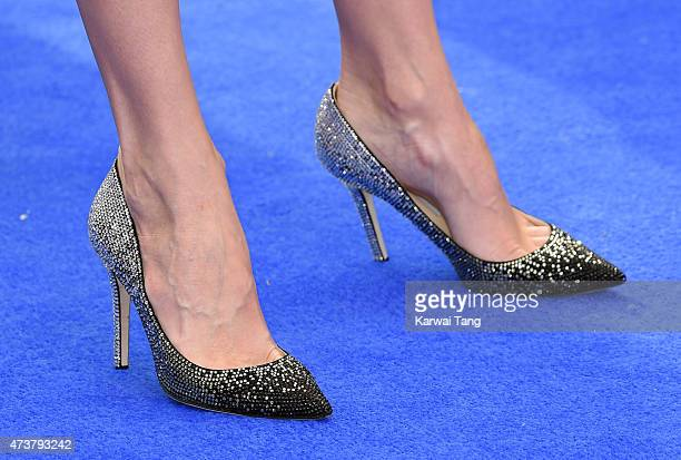 Stephanie Pratt shoe detail attends the European premiere of 'Tomorrowland A World Beyond' at Odeon Leicester Square on May 17 2015 in London England