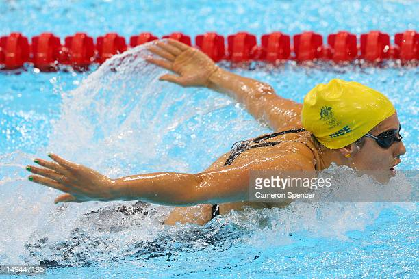 Stephanie Rice of Australia competes in the Final of the Women's 400m Individual Medley on Day 1 of the London 2012 Olympic Games at the Aquatics...