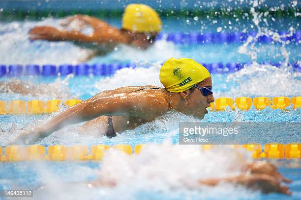 Stephanie Rice of Australia swims butterfly as she competes in heat four of the Women's 400m Individual Medley on Day One of the London 2012 Olympic...