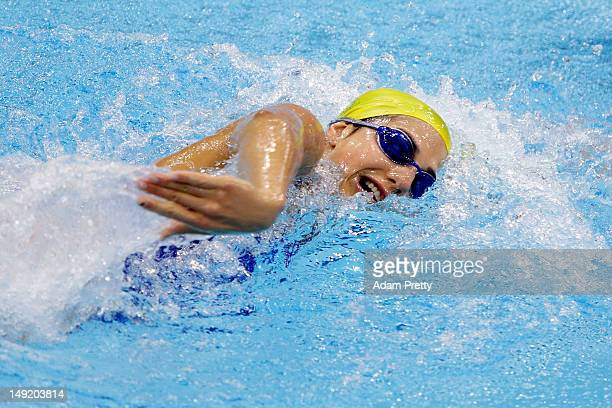 Stephanie Rice of Australia swims during a training session ahead of the London Olympic Games at the Aquatics Centre in Olympic Park on July 25 2012...