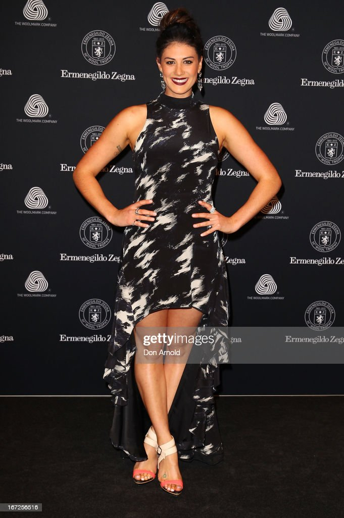 Stephanie Rice poses during the 50th Anniversary Wool Awards at Royal Hall of Industries, Moore Park on April 23, 2013 in Sydney, Australia.