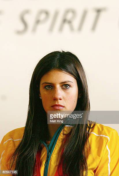 Stephanie Rice waits on stage as the Australian Olympic team arrive home at Sydney Airport following the Beijing 2008 Olympics August 26 2008 in...
