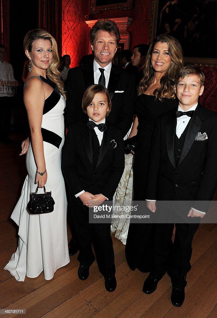 Stephanie Rose Bongiovi, Jon Bon Jovi, Romeo Bongiovi, Dorothea Hurley and Jacob Bongiovi attend the Winter Whites Gala in aid of Centrepoint at Kensington Palace on November 26, 2013 in London, England.
