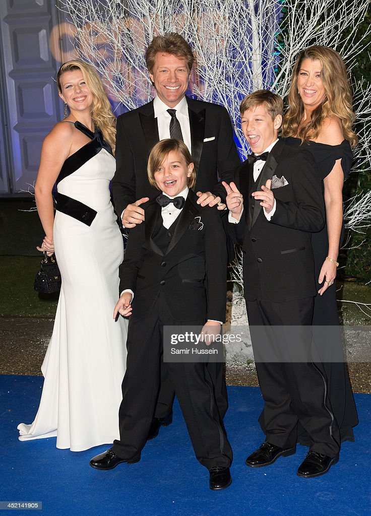 Stephanie Rose Bongiovi, Jon Bon Jovi, Romeo Bongiovi, Dorothea Hurley and Jacob Bongiovi attend The Winter Whites Gala In Aid Of Centrepoint at Kensington Palace on November 26, 2013 in London, England.