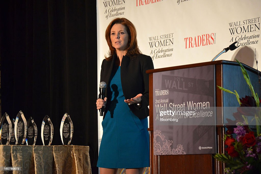 Stephanie Ruhle, an anchor for Bloomberg Television, delivers the keynote address at the Traders Magazine Wall Street Women Awards Ceremony at the Waldorf Astoria in New York, U.S., on Tuesday, Jan. 15, 2013. The Traders Magazine Wall Street Women Awards honor women who work in financial services. Photographer: Amanda Gordon/Bloomberg via Getty Images