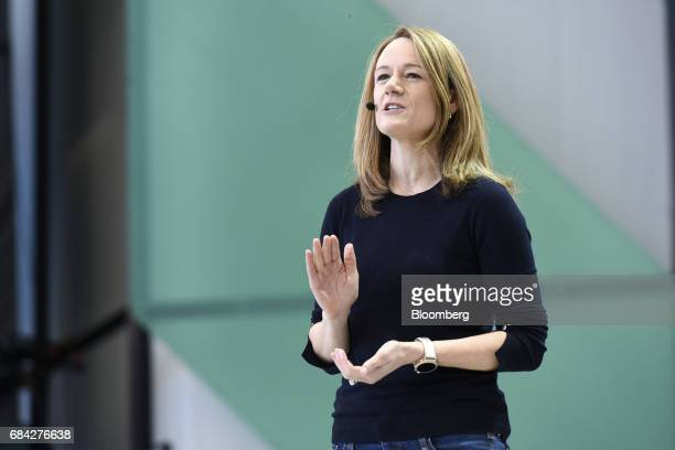 Stephanie Saad Cuthbertson director of product management for android at Google Inc speaks during the Google I/O Annual Developers Conference in...