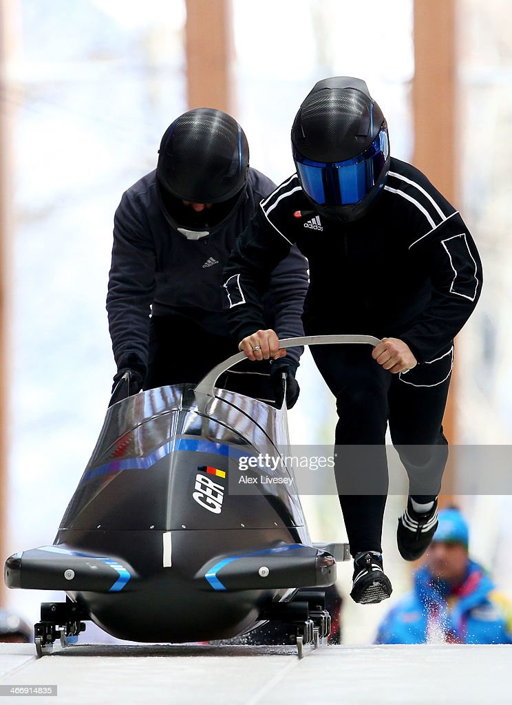 Stephanie Schneider and Anja Schneiderheinze of Germany practise a bobsleigh run ahead of the Sochi 2014 Winter Olympics at the Sanki Sliding Center on February 5, 2014 in Sochi, Russia.