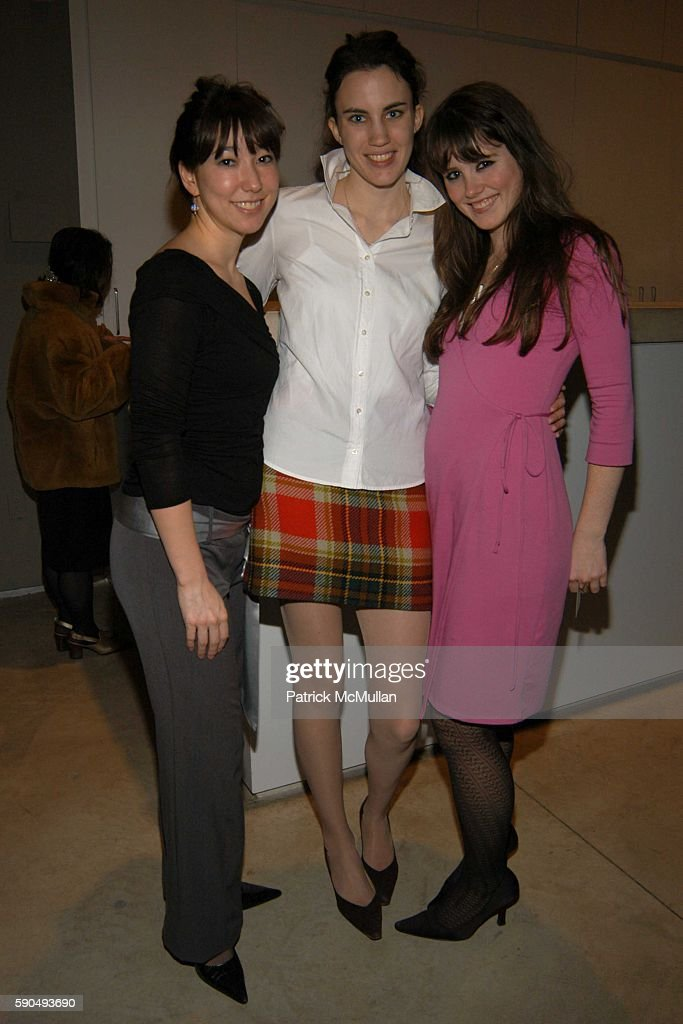 Stephanie Schollenberger Laura Daly and Brienne Walsh attend Opening of Robert Rauschenberg's Scenarios at PaceWildenstein on January 13 2005 in New...