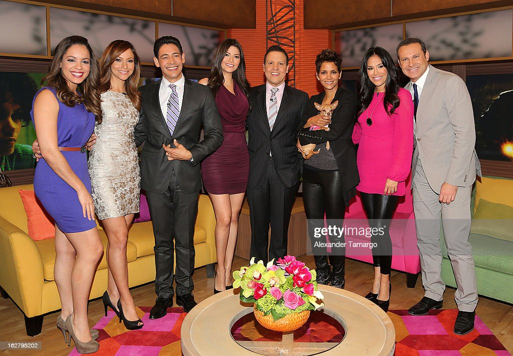 Stephanie Severino, Satcha Pretto, Johnny Lozada, Ana Patricia Gonzalez, Raul Gonzalez, Hally Berry, Karla Martinez and Alan Tacher appear on Univision's Despierta America to promote her film 'The Call' at Univision Headquarters on February 27, 2013 in Miami, Florida.