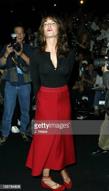 Stephanie Seymour during MercedesBenz Fashion Week Spring 2004 Narciso Rodriguez Front Row at Gertrude Tent Bryant Park in New York City New York...