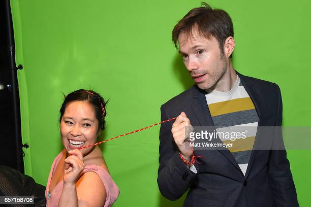 Stephanie Sheh and Michael Sinterniklaas attend Funimation Films presents 'Your Name' Theatrical Premiere in Los Angeles CA at Yamashiro Hollywood on...