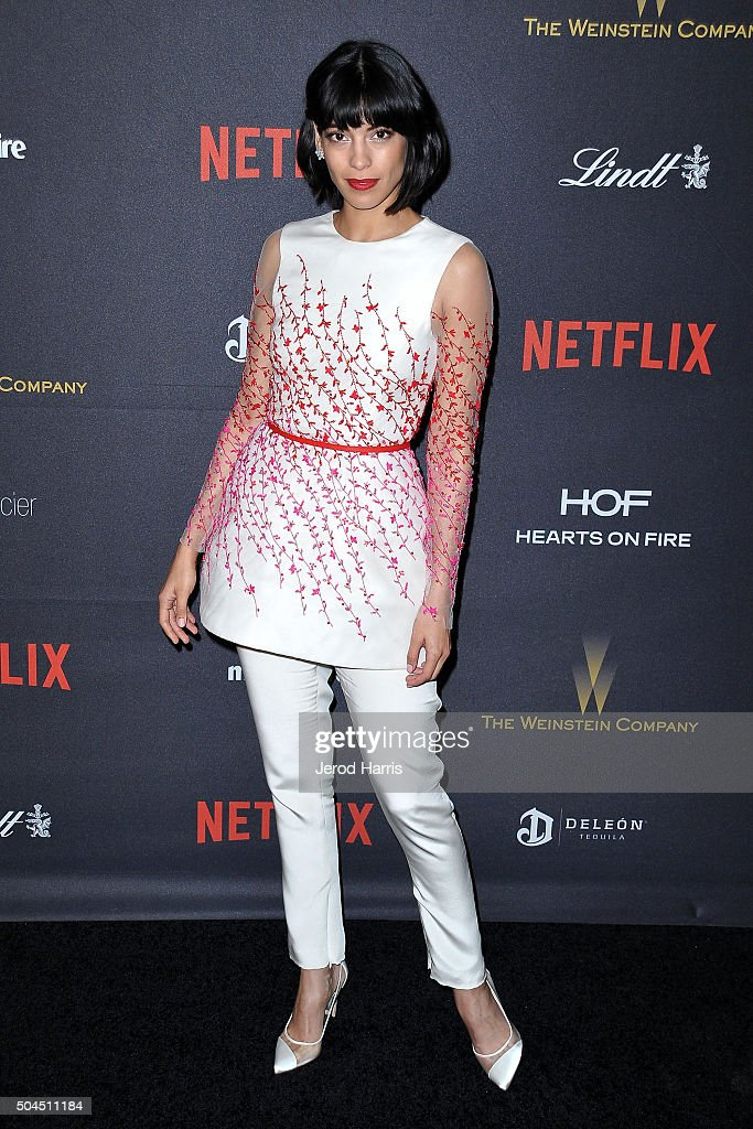 Stephanie Sigman arrives at the 2016 Weinstein Company and Netflix Golden Globes After Party on January 10, 2016 in Los Angeles, California.