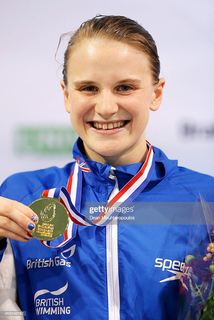 Stephanie Slater of Great Britain poses with her gold medal after winning the Women's 100m Butterfly S8 Final during the IPC Swimming European Championships held at the Pieter van den Hoogenband Swimming Stadium on August 6, 2014 in Eindhoven, Netherlands.