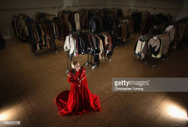 Stephanie Smith Costume Door Manager at The Royal Shakespeare Company poses in the costume of the Devil worn by actor Pharmesh Patel in Morte...