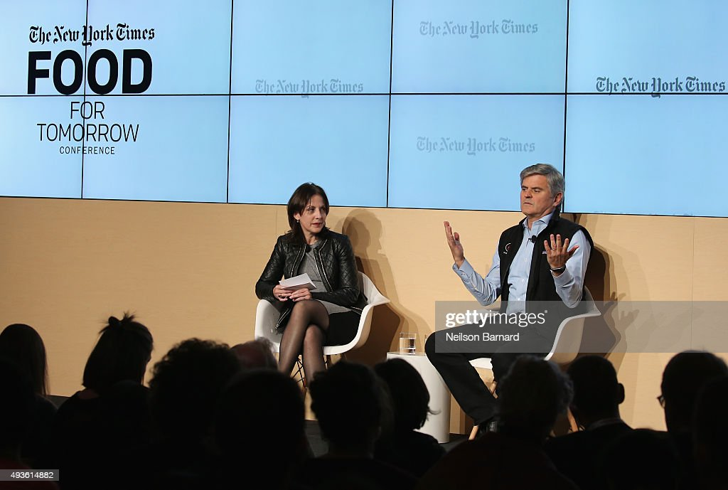 Stephanie Strom, business reporter, The New York Times speaks onstage with <a gi-track='captionPersonalityLinkClicked' href=/galleries/search?phrase=Steve+Case&family=editorial&specificpeople=214603 ng-click='$event.stopPropagation()'>Steve Case</a>, chairman and C.E.O., Revolution, and co-founder America Online at The New York Times Food For Tomorrow Conference 2015 at Stone Barns Center for Food & Agriculture on October 21, 2015 in Pocantico Hills City.