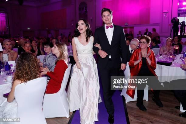 Stephanie Stumph and Mr Germany Dominik Bruntner during the Gloria Deutscher Kosmetikpreis at Hilton Hotel on March 31 2017 in Duesseldorf Germany